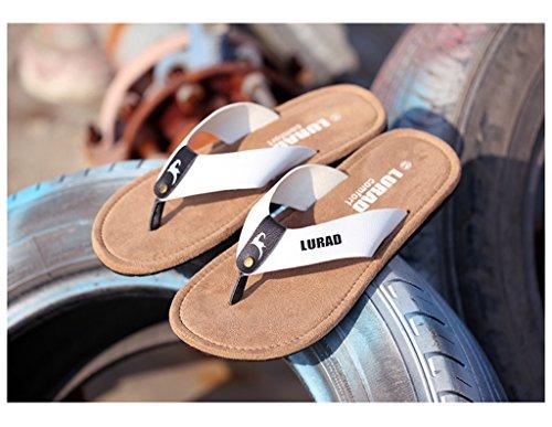 ALUK- Sandales d'été - Pantoufles d'hommes avec l'Europe et les États-Unis Tendance de chaussures de plage ( Couleur : Blanc , taille : 40 ) Blanc