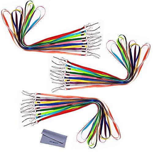 wisdompro® Pack 43,2cm bunt Nylon Umhängeband mit J-Haken-& Tone Split Ring für Büro 's USB, Schlüssel, Schlüsselanhänger, ID Namensschild Ausweishalter oder andere tragbare Artikel, verschiedene Farben 30Pcs 10-Color Pack (Tasche Nylon Kurze)