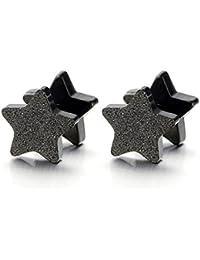 Estrella Negro Satinado Enchufe falso Fake Plug, Pendientes de Hombre Mujer, Aretes, Acero Inoxidable, 2 Piezas