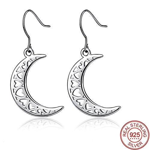 Orecchini donna argento 925 luna, bbyaki vacanza compleanno miglior regalo dare moglie fidanzata sorelle