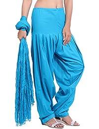 Jaipur Kurti Pure Cotton Patiala Salwar And Dupatta Set (Aqua Blue)