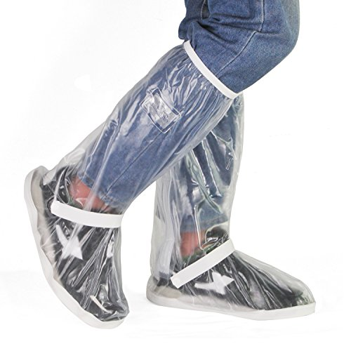 HSEAMALL Copriscarpe Pioggia Moto, Scarpe Pioggia Impermeabile Copriscarpe Riutilizzabile Stivali di Copriscarpe Antiscivolo con Zip (38/39 EU)
