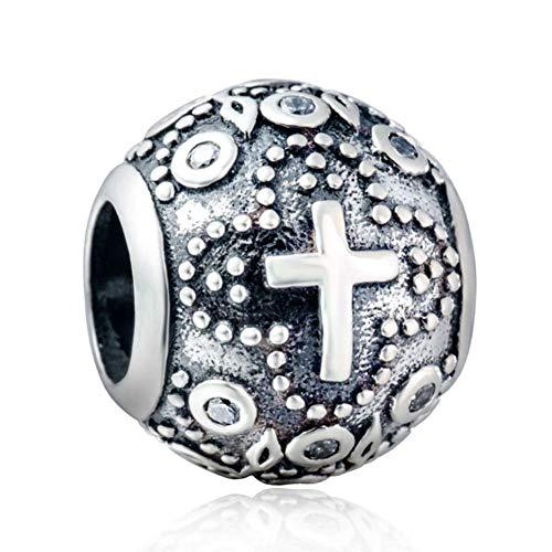 Charm-Anhänger Kreuz Auge des Teufels Sterling-Silber 925 Mond Stern für Pandora Charm-Armband kruez (Stern Charm Für Pandora Armband)