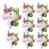 NIGHT-GRING 8X Rainbow Unicorn Palloncino SuperShape Decorazione per Matrimonio Nozze Compleanno Palloncino 29 x 46cm