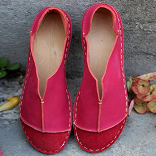 MatchLife Femme Vintage Travail Manuel Ronde Cuir Plat Chaussure Style2-Rouge