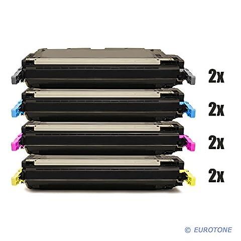 8x Eurotone Remanufactured Toner Cartridge for HP Color LaserJet CM 4730 MFP F FM FSK replaces Q6460A-63A 644A