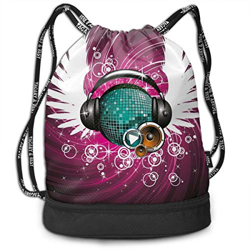 LULABE Printed Drawstring Backpacks Bags,Disco Ball with Headphones and Angel Wings Vibrant Swirl with Circles,Adjustable String Closure