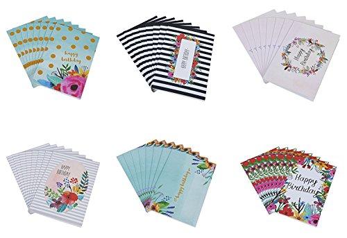 juvale 48Stück Happy Birthday Note Karten Grußkarten–6Einzigartige Bunte Geburtstag Karten, für Ihren Watercolor Floral Blumen Designs Bulk Box Set Vielzahl Sortiment–Briefumschläge, die (10x 15cm).