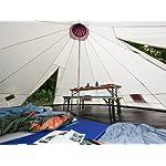 Skandika Teepee 301 Wigwam Style Indiana Tepee Tent, Sewn-In Groundsheet, 300 cm Peak Height, 3000 mm Water Column, Sand/Burgundy, 12-Person 14