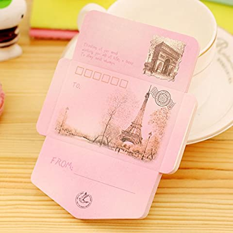 Happy Star® French Paris Holiday Envelope Postcard Shape Cute Notebooks Small Pocket Memo Pads (Eiffel Tower (pink))