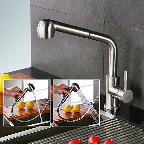 Homelody - herausziehbare Küchenarmatur, 360 Grad drehbar, Chrom