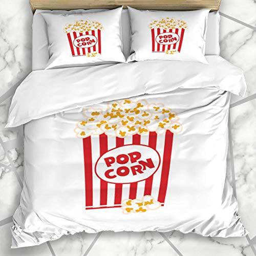Soefipok Bettbezug-Sets Karton Rot Grafik Popcorn Box Weiß Buttered Essen Trinken Großer Eimer Mikrofaser Bettwäsche mit 2 Pillow Shams