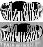 LEUCHTENDES Hunde-Halsband, Größe: XL (52-60cm / 2,5cm breit), WEISS Zebra-Design, mit Klickverschluß. LED's leuchten und blinken im Dunkeln.