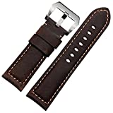 Da uomo, cinturino in vera pelle per orologio CONSTANTINE, 24 mm, colore: marrone scuro