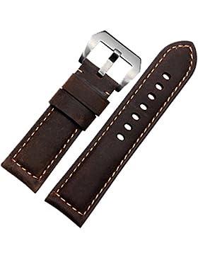Echtleder Uhrenarmband mit Edelstahl-Schnalle, braun, 22mm