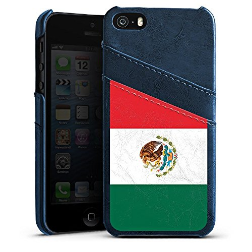 Apple iPhone 5s Housse Étui Protection Coque Mexique Drapeau Ballon de football Étui en cuir bleu marine