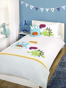 Children's/Kids Single Bed 100% Cotton Luxury Duvet Set - Monsters