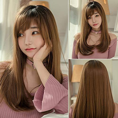 Perücke Frau lange Haare glattes Haar realistische natürliche volle Kopfbedeckung Highlight Perücke, braun -