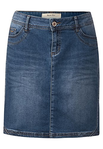 Street One Damen Denim Rock mit Ziernaht Ida authentic indigo skirt wash 36