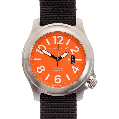 Momentum Mens Nylon Band Steelix Web Nato Field Watch (Orange Dial/Black)