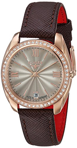 ELYSEE Women's Diana 32mm Brown Leather Band Rose Gold Plated Case Quartz Charcoal Dial Analog Watch 28603