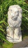 Löwe sitzend Keramik Keramiklöwe Skulptur creme grau Gartenskulptur Gartenfigur antik Optik ca. 28cm