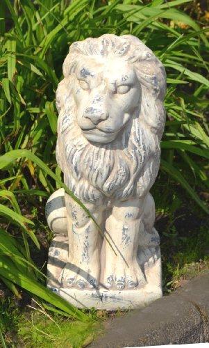 Löwe sitzend Keramik Gartendeko Skulptur creme grau Gartenfigur antik Deko 31cm