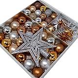 ToCi Juego de decoración para el árbol de Navidad, 45 piezas con bolas, estrella para la copa del árbol, estrellas y cadena de perlas, bonita decoración de Navidad en una...