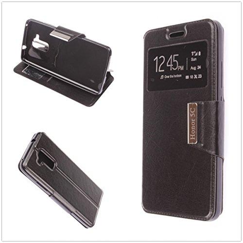 MISEMIYA - Schutzhülle Cover für Huawei Honor 5C / HUAWEI GT3 - Hüllen , Cover VIEW Buch Stütz,schwarz