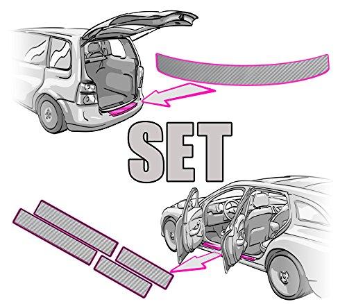 Preisvergleich Produktbild Ladekantenschutz + Einstiegsleisten SET + RAKEL + ANLEITUNG in 3D CARBON SILBER Folie – passende Schutzfolie von CCW©