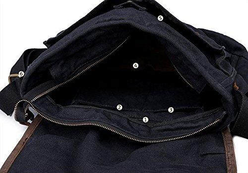 LQT bandouiere-Zaino da scuola, borsa in tela, 40 x Messenger, Borsa a tracolla unisex, stile classico/retrò, modello militare, Kaki (Beige) - FBG-0026-kaki nero
