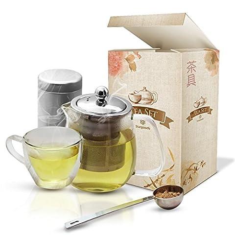 Stargoods Service à thé Théière & mug avec infuseur cuillère et boîte Acier inoxydable