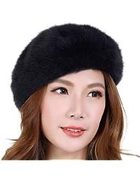 YXLMZ Sombrero de Mujer Otoño Invierno Sombrero de Piel de Conejo Sombrero  de Lana de Invierno Moda Boina 8255c8d64e5