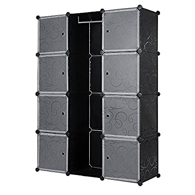Songmics DIY Plastic Clothes Wardrobe Interlocking Cube Box Cupboard Cabinet Organiser Storage 145 x 110 x 37 cm LPC30B/W - inexpensive UK light shop.