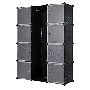 Songmics armoire penderie cubes tag re de rangement - Etageres modulables en metal ...