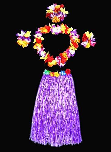 Erwachsene Elastic Hawaiian Hula Tänzerin Gras Rock mit Blumen Kostüm-Set violett