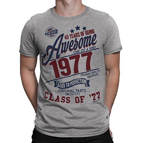 40 Years Of Being AWESOME Herren 40th T-Shirt Class of 1977 Geburtstag Gift Aged to Perfection von Buzz Shirts® Grau