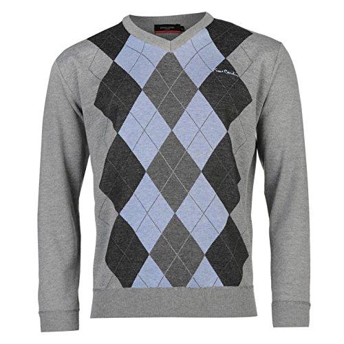 pierre-cardin-uomo-argyle-maglia-maglione-pullover-manica-lunga-scollo-a-v-grigio-blu-small