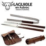 Laguiole en Aubrac Grillbesteck Grill-Set 3-teilig SMB99PAIF Griff Palisanderholz, Große Ledertasche braun