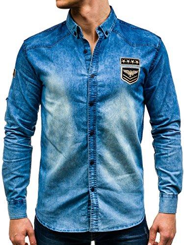 BOLF Hombre Camisa Vaquera de Manga Larga Denim Slim Fit Madmext 0992 Azul M [2B2]