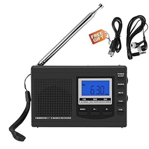 Am FM Radio Pequeña Portatil,Frontoppy Mini Radio Receptor FM Reloj Despertador con Auriculares/Antena Externa/Altavoz / Indicador LED, DC 5V Cable USB/Batería para Caminar Senderismo Running