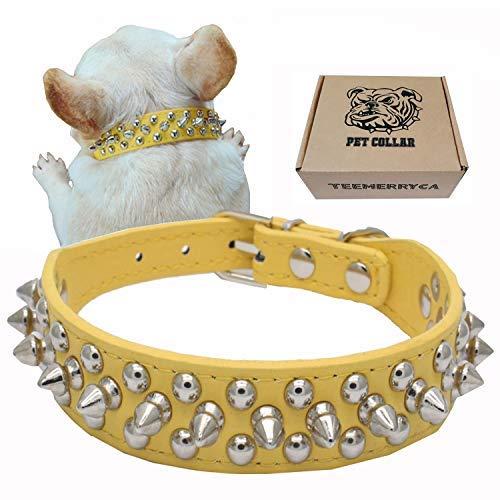 teemerryca Hundehalsbänder aus Leder Spiked Hundehalsbänder Katzen halsbänder Gelb kleine Welpen-Hundehalsbänder Einstellbare Hundehalsbänder 27cm-33cm -