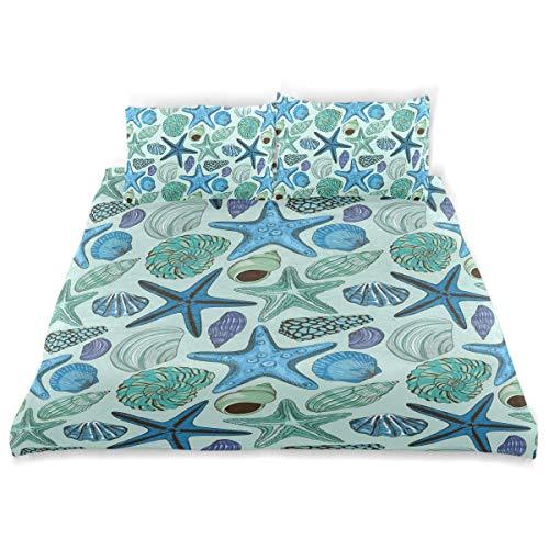 Dekor Bettbezug Set, Seestern Tropical Shells Drucken Sie eine dekorative 3-TLG. Bettwäsche Set mit Kissenbezügen -