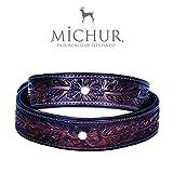 MICHUR Fabio Hundehalsband, Lederhalsband, Halsband, BRAUN, LEDER, mit gestanzten Blumenmuster und einem weißen Perl, in verschiedenen Größen erhältlich