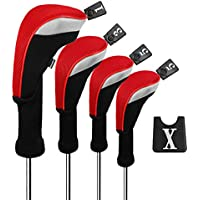 Andux 4pcs/Set Golf 460cc Conductor Cubiertas de Cabeza de Madera con Cuello Largo y No. Etiquetas Intercambiables Paquete de 4 (Red, MT/MG30)