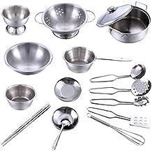 Giocattoli da cucina, Finer Shop 16Pcs Utensili da cucina in acciaio inossidabile pentole Bambini Bambini Simulazione Giochi di Cucina Playset - Argento