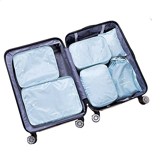 TENTA 6pcs Multi-functional clothing storage bags Travel packing pouches luggage organizer travel essential(Sky blue)