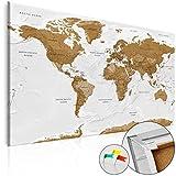 murando Weltkarte mit Kork Rückwand 120x80 cm - XXL Format
