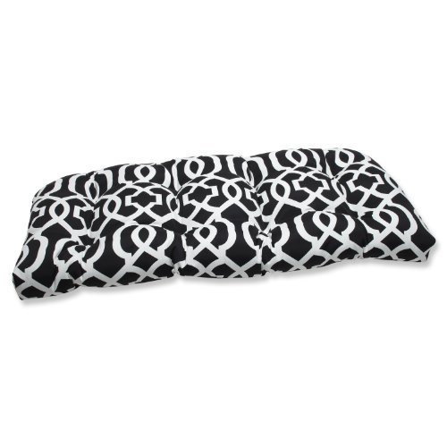 Pillow Perfect Outdoor New Geo Wicker Loveseat Cushion, Black/White by Pillow Perfect (Outdoor-wicker Loveseat)