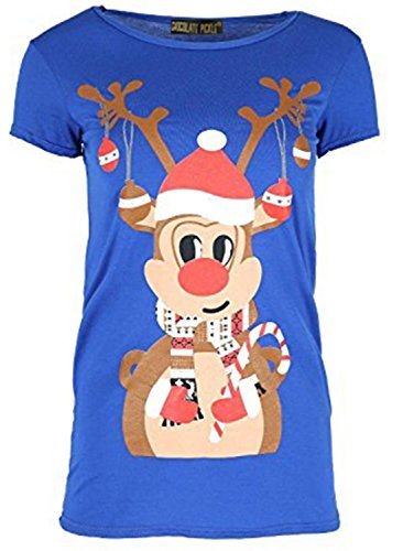 Chocolate Pickle ® Mesdames Renne cloches Noël de T-shirt Hauts 36-50 Royal Blue
